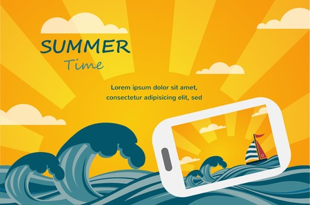 Summer tropical concept background, smartphone make picture of summer view