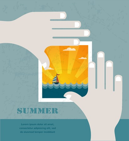 Summer vacation concept background with hands shaped in viewfinder or frame with a summer sea view Vector