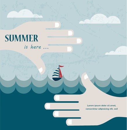 limits: Hands shaped in viewfinder or frame with a summer sea view   illustration