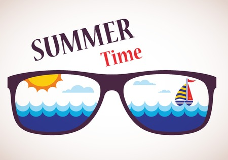 ocean view: Summer Time, sunglasses with summer view of ocean, sea and boat