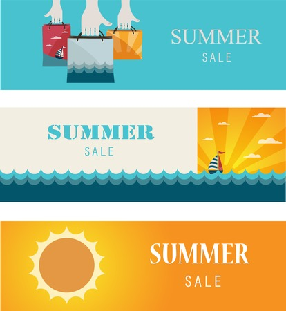 Summer Sale banners, Vintage banners cards illustration Vector