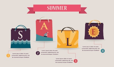 Summer sale infographics with seasonal colorful shopping bags Vector