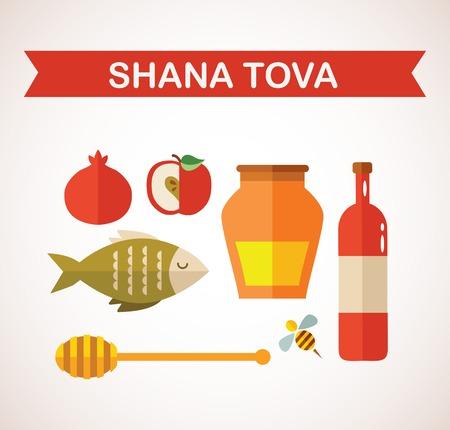 set of Jewish new year icons, Happy Shana Tova    Happy New Year   Hebrew
