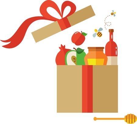 to present: open present box for Rosh Hashanah, jewish holiday