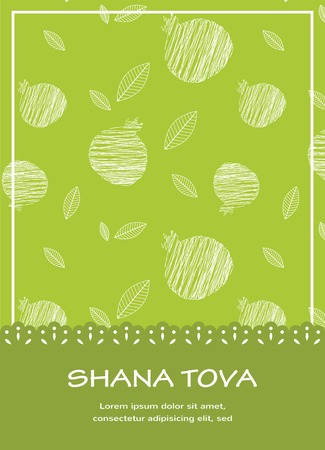 illustration of Rosh Hashanah background with pomegranates Happy New Year in Hebrew
