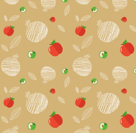 jewish food: illustration of Rosh Hashanah background with pomegranates and apples illustration