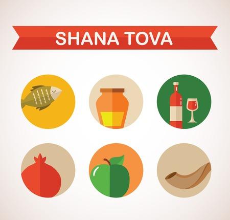 six icons for Rosh Hashana, Jewish holiday  illustration Happy New Year in Hebrew