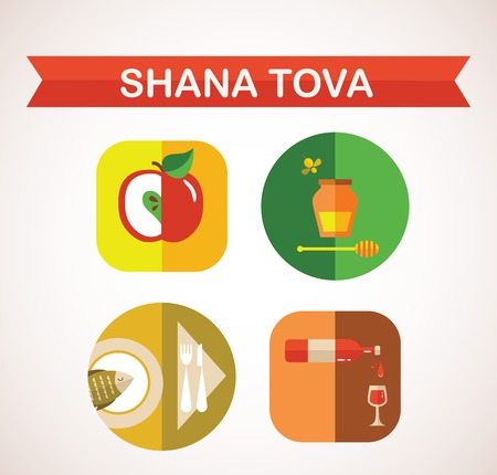 six icons for Rosh Hashana, Jewish holiday Happy New Year in Hebrew illustration Vector