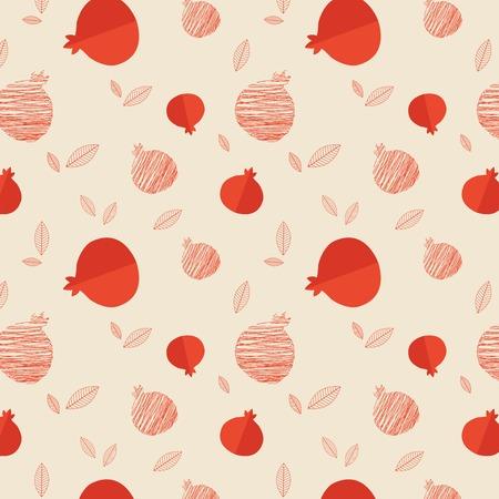 Granaatappel naadloze patroon voor Rosj Hasjana illustratie Stock Illustratie
