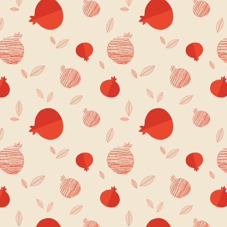 rosh: Pomegranate seamless pattern for Rosh hashana  illustration