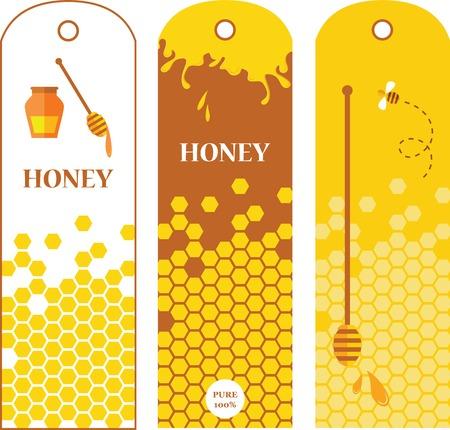 Set of honey labels, badges and design elements   illustration Vector