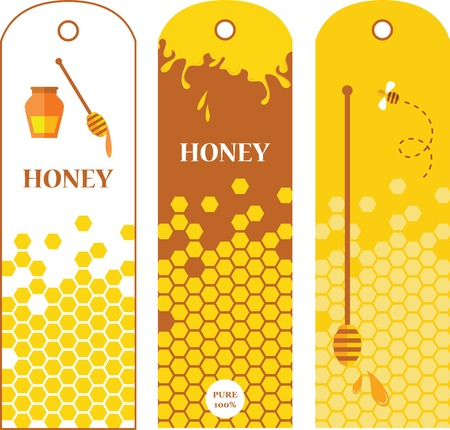 Set of honey labels, badges and design elements   illustration