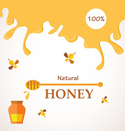 animal cell: Natural honey; Honey streams, jar and bees isolated on white   illustration