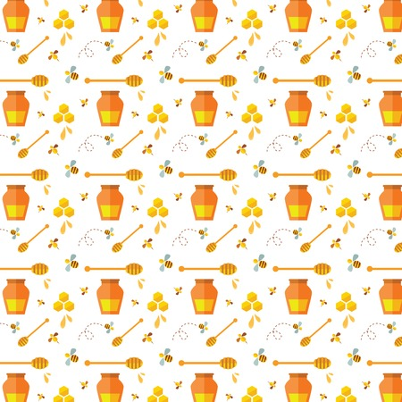 Seamless pattern with bee and honey   illustration Vector