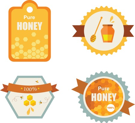 apple and honey: Set of honey and bee labels  set of product icons