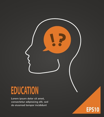caption: Human head with question and answer marks on a black background  Education concept