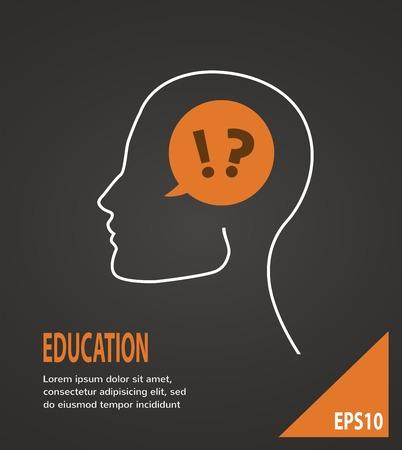 onbeantwoorde: Menselijk hoofd met vraag en antwoord merken op een zwarte achtergrond Onderwijs concept