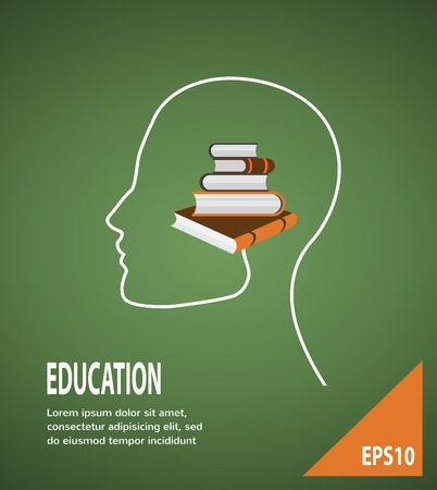 The concept of modern education  Infographic Template with profile head, with lightbulb and books  Vector
