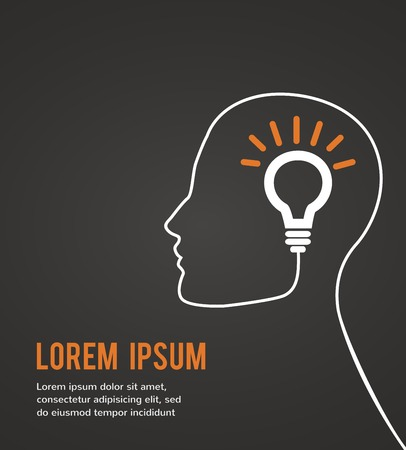 human head thinking a new idea on black background  illustration