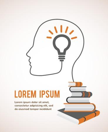 psicologia infantil: El concepto de la educación moderna Plantilla Infografía con perfil de la cabeza, con la bombilla y los libros