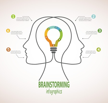 Profile of human heads with lightbulb in the middle  Concept of business idea and brainstorming infographics Vector