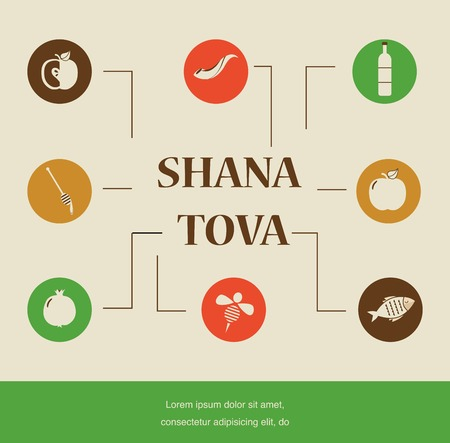 Jewish new year holiday Rosh Hashanah with traditional icons. Happy New Year
