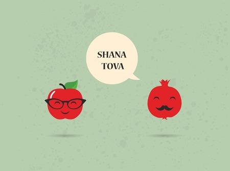 流行に敏感なリンゴとザクロ rosh 書きおこす、ユダヤ人の新年のカード上で