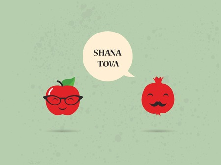 pomegranate: Hipster apple and pomegranate on a card for rosh hashana, jewish New Year Illustration