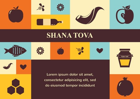 set of Jewish new year icons, Happy Shana Tova. Happy New Year in Hebrew Illustration