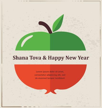 manzana: Tarjeta de felicitación para el Año Nuevo Judío, Rosh Hashaná, con frutas tradicionales