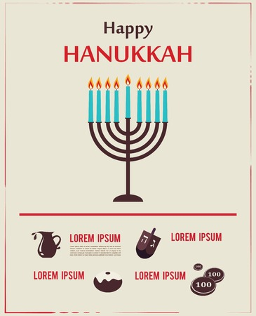 chanukah: Infographics of famous symbols for the Jewish Holiday  Hanukkah Illustration