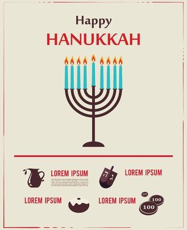 Infographics of famous symbols for the Jewish Holiday  Hanukkah Illustration
