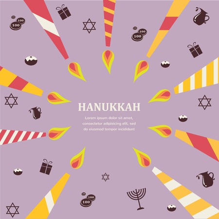 8 candles for eight days of Jewish holiday Hanikkah infographics Vector