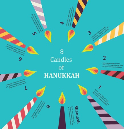 8 candles for eight days of Jewish holiday Hanikkah  infographics Illustration