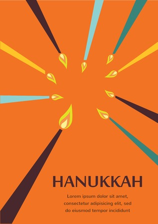 dreidel: Happy Hanukkah greeting card design, jewish holiday.