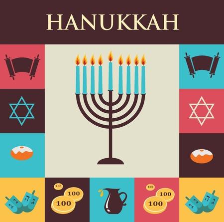 menora: illustrations of famous symbols for the Jewish Holiday  Hanukkah