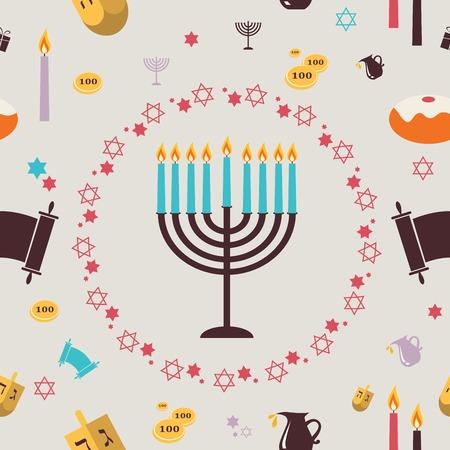 pattern with Hanukkah symbols. Greeting card. illustration Illustration