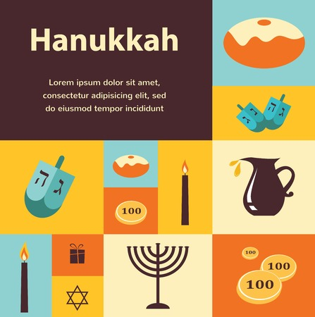 food and drink holiday: illustrations of famous symbols for the Jewish Holiday  Hanukkah