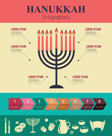 Vector Infographics of famous symbols for the Jewish Holiday  Hanukkah Illustration