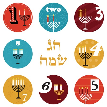 hanukkah, 8 candles for eight day  holiday Vector