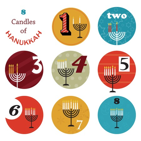 menora: hanukkah, 8 candles for eight day  holiday Illustration