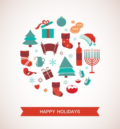 merry christmas and happy hanukkah Vector