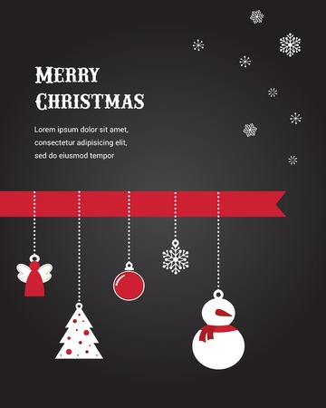 Merry Christmas card with seasonal decoration on black Vector