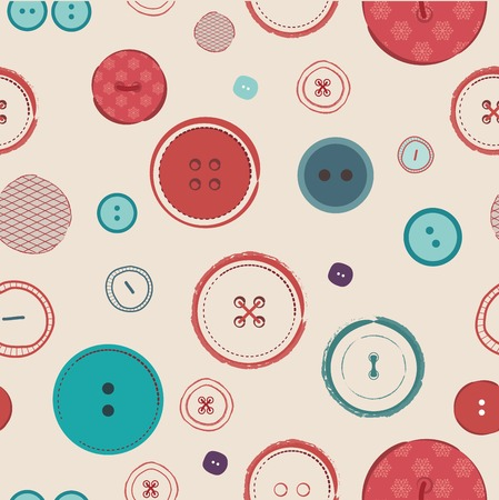 sewn: retro seamless  pattern. Bright colors buttons on dark background. Ideal for textile, wallpaper, wrapping, web pages, etc.