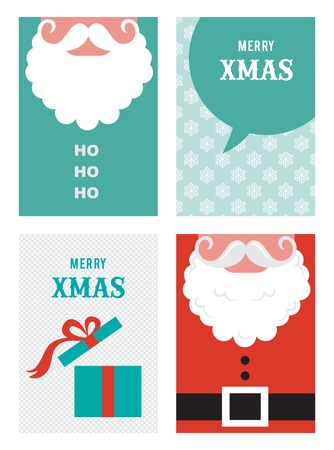 ho: four retro cards for Christmas in hipster  style