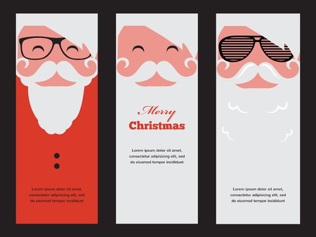 three cards  of fashion silhouette hipster style Santa Claus  イラスト・ベクター素材
