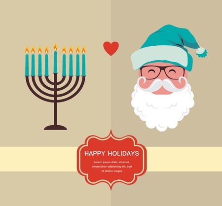 happy Hanukkah and happy holidays, jewish holiday  menorah and Xmas Santa Vector