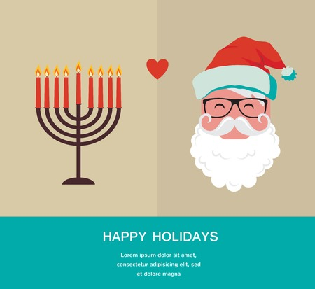 happy Hanukkah and happy holidays, jewish holiday  menorah and Xmas Santa Vector