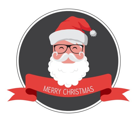 vintage card  of hipster santa claus. happy new year Vector