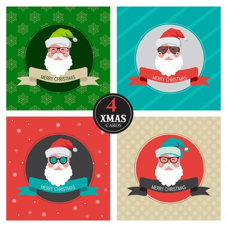 happy new year text: four xmas cards with colorful  hipster santa